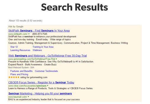 Image of results from Google Custom Search, a free site search with ads.