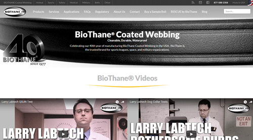 Image of BioThane's website with our Google Site Search replacement platform.